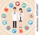 doctor and nurse with medical... | Shutterstock .eps vector #429916897