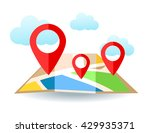 flat map with pins. vector... | Shutterstock .eps vector #429935371