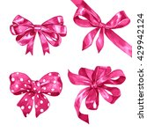 Watercolor Pink Bows Set On...