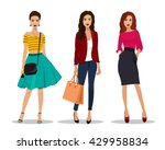 Stock vector beautiful young women in fashion clothes detailed female characters with accessories flat style 429958834