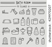 bathroom accessories icons hand ... | Shutterstock .eps vector #429970207