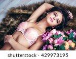 fashion portrait of beautiful... | Shutterstock . vector #429973195
