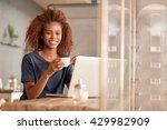chilling online with a coffee... | Shutterstock . vector #429982909