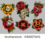 traditional tattoo flowers set... | Shutterstock .eps vector #430007641