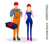 occupation builder. builders of ... | Shutterstock .eps vector #430019461