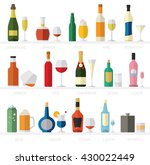 alcohol glasses and bottles... | Shutterstock .eps vector #430022449