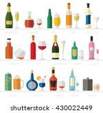 alcohol glasses and bottles... | Shutterstock .eps vector #430022449