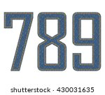 denim fabric stitched letters.... | Shutterstock .eps vector #430031635