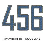 denim fabric stitched letters.... | Shutterstock .eps vector #430031641