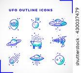 vector ufo or alien icons set... | Shutterstock .eps vector #430037479