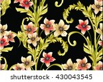 pattern with narcissus flowers... | Shutterstock .eps vector #430043545