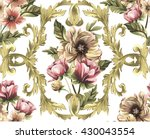 pattern with gold baroque... | Shutterstock .eps vector #430043554