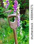 robin perched on a garden fork... | Shutterstock . vector #430044271