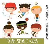 team sports kids set. baseball  ... | Shutterstock .eps vector #430058425