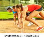 group of young runners in start ... | Shutterstock . vector #430059319