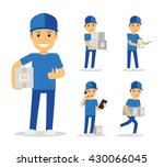 delivery man in blue uniform... | Shutterstock .eps vector #430066045