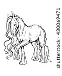 coloring page with a horse | Shutterstock .eps vector #430069471