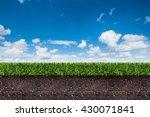 green grass with soil on blue... | Shutterstock . vector #430071841