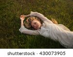 beautiful sexy blond girl lying ... | Shutterstock . vector #430073905
