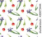 Watercolor Tulips And Irises O...