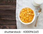 tasty corn flakes in bowl with... | Shutterstock . vector #430096165