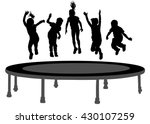 children silhouettes jumping on ... | Shutterstock .eps vector #430107259