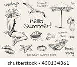hand drawn sketch set summer...   Shutterstock .eps vector #430134361