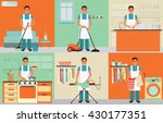 house husband cleaning  ironing ... | Shutterstock .eps vector #430177351