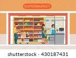 people in supermarket grocery...   Shutterstock .eps vector #430187431