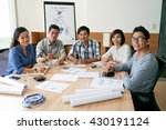 asian business team sitting at... | Shutterstock . vector #430191124