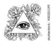 blackwork tattoo flash. all... | Shutterstock .eps vector #430201195