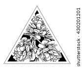blackwork tattoo flash. peony...   Shutterstock .eps vector #430201201