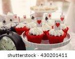 Stock photo red velvet cupcakes with playing cards toppers alice in wonderland mad hatters tea party 430201411