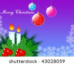 beautiful christmas decoration with candle and balls - stock photo