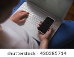 girl with smartphone and laptop ... | Shutterstock . vector #430285714