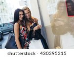 beautiful women shopping... | Shutterstock . vector #430295215