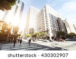 crowded people on road... | Shutterstock . vector #430302907