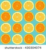 lemon and orange sliced pattern ... | Shutterstock . vector #430304074