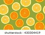 lemon and orange sliced pattern ... | Shutterstock . vector #430304419