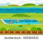 cartoon swimmers training or... | Shutterstock . vector #430304521