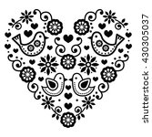 folk art valentine's day heart  ... | Shutterstock .eps vector #430305037