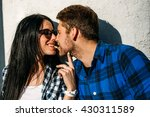 couple eating fries at sunset... | Shutterstock . vector #430311589