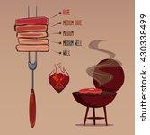 slices of beef steak on fork ... | Shutterstock .eps vector #430338499