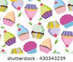 Cupcake Vector Pattern. Happy...