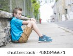 a boy standing in the city... | Shutterstock . vector #430346671