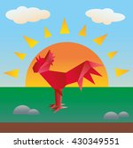paper red rooster on the... | Shutterstock .eps vector #430349551