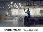 guy making announcement | Shutterstock . vector #430361851