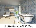 3d rendering a modern bathroom | Shutterstock . vector #43038286