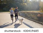 Stock photo fitness sport people and jogging concept happy couple with dog running outdoors 430419685