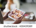 woman monitoring cameras live... | Shutterstock . vector #430439389
